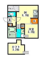 SKY CASTLE II(スカイキャスルツー)[2階]の間取り