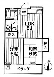 東京都世田谷区等々力6丁目の賃貸アパートの間取り