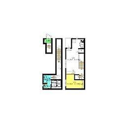 名古屋市営名城線 瑞穂運動場東駅 徒歩4分の賃貸アパート 2階ワンルームの間取り