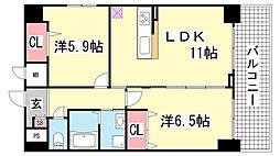 兵庫県神戸市中央区御幸通6丁目の賃貸マンションの間取り