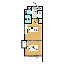 吉祥院マンション(仮) 4階1DKの間取り