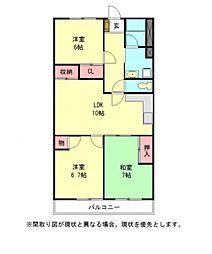 愛知県岩倉市八剱町池田の賃貸マンションの間取り
