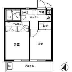 コートハウス豪徳寺[0201号室]の間取り