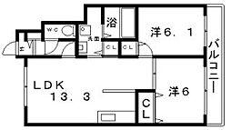 カーサベージュ3[1階]の間取り