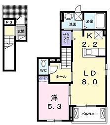 広島県福山市引野町5丁目の賃貸アパートの間取り
