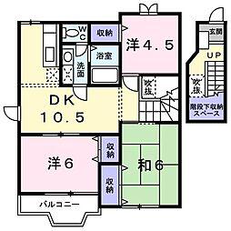 東京都立川市砂川町5丁目の賃貸アパートの間取り