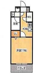 JR吉備線 備前三門駅 徒歩8分の賃貸マンション 6階1Kの間取り