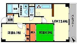 さくら館 6階2LDKの間取り