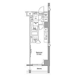 ザ・パークハビオ恵比寿プレイス 3階ワンルームの間取り