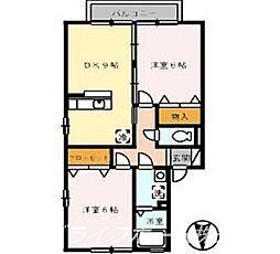 サンセール B棟[2階]の間取り