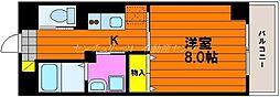 JR山陽本線 岡山駅 徒歩15分の賃貸マンション 3階1Kの間取り