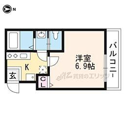 阪急京都本線 西向日駅 徒歩5分の賃貸マンション 1階1Kの間取り