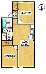 神奈川県大和市桜森3丁目の賃貸アパートの間取り
