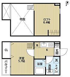 JR東北本線 南仙台駅 徒歩13分の賃貸アパート 2階1Kの間取り