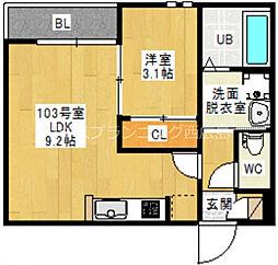 広島電鉄宮島線 東高須駅 徒歩6分の賃貸アパート 1階1LDKの間取り