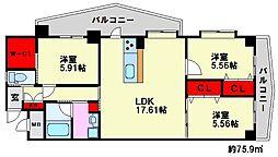 福岡県福岡市南区大楠2丁目の賃貸マンションの間取り