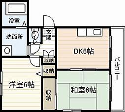 広島電鉄6系統 江波駅 徒歩9分の賃貸マンション 3階2DKの間取り