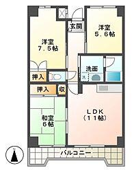 砂サンシャインシティ三番館[2階]の間取り