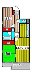 コスモ武蔵浦和プロシィード[4階]の間取り