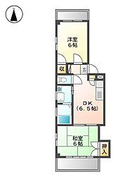 サン西志賀[2階]の間取り