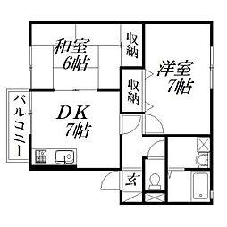 静岡県浜松市西区西山町の賃貸アパートの間取り