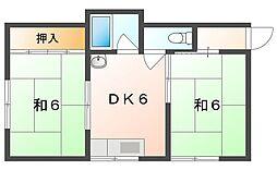 馬場町2丁目貸アパート 2階2DKの間取り