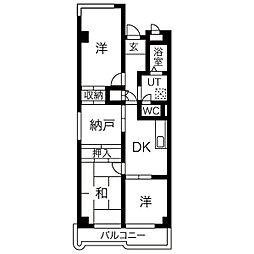 里水マンションA[7階]の間取り