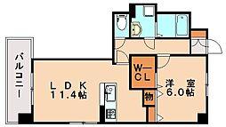西鉄天神大牟田線 春日原駅 徒歩35分の賃貸マンション 3階1LDKの間取り
