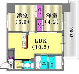 プリオーレ神戸大開通[5階]の間取り