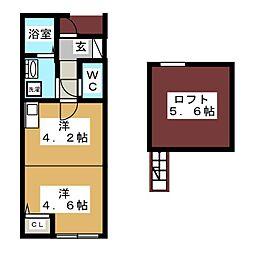 ワンラブ富吉[2階]の間取り