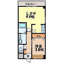 メゾン唯 2階1LDKの間取り