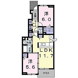 滋賀県大津市横木2丁目の賃貸アパートの間取り