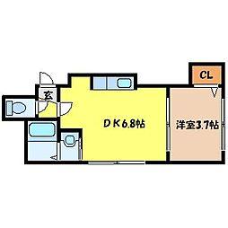 北海道札幌市北区北十九条西3丁目の賃貸アパートの間取り