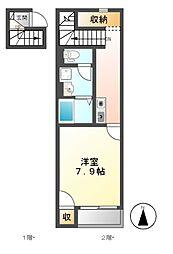 クレイノKANAMEIII[2階]の間取り