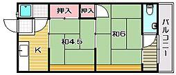 大阪府茨木市南春日丘5丁目の賃貸アパートの間取り