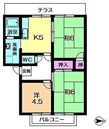 京都府相楽郡精華町桜が丘4丁目の賃貸アパートの間取り