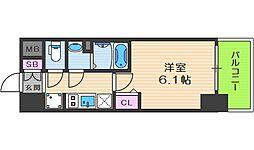 プレサンス天神橋六丁目ヴォワール 2階1Kの間取り