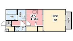 兵庫県姫路市南条2丁目の賃貸アパートの間取り