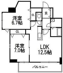 北海道札幌市西区発寒九条10丁目の賃貸マンションの間取り