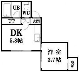 エスポワール東札幌[202号室]の間取り