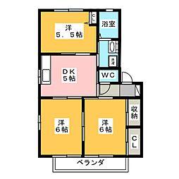 ディアコート花水木 A[2階]の間取り