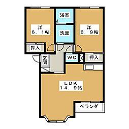 シンパシーK・M[2階]の間取り