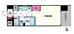 レジュールアッシュOSAKA新深江 8階1Kの間取り