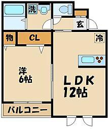JR中央線 三鷹駅 バス16分 三鷹中等教育学校下車 徒歩2分の賃貸アパート 1階1LDKの間取り