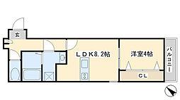 グラシアス三萩野[102号室]の間取り