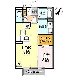 富山県富山市中冨居新町の賃貸アパートの間取り