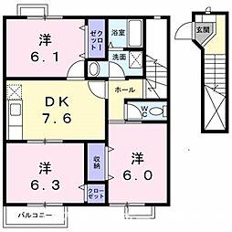 ベニーレイン1[2階]の間取り