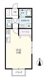 夢咲アパート 2階ワンルームの間取り