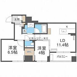 ラ・クラッセ札幌ステーションラフィーネ 5階2LDKの間取り