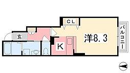 サンフローラB[102号室]の間取り